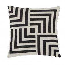 Coussin tissé jacquard en polyester recyclé noir écru 45×45