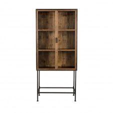 Vitrine 2 portes en bois clair recyclé et métal