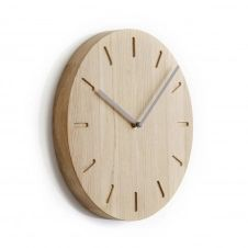 Horloge murale Watch Out en chêne chêne-gris