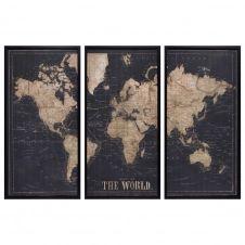 Cadre triptyque carte du monde noir 180×120 EXPLORE