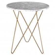 Bout de canapé en marbre clair et métal doré ODYSSEE
