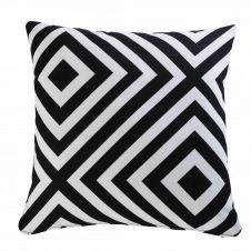 Coussin de jardin motifs géométriques noirs et blancs 45×45 NAHIRA