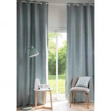Rideau à illets en tissu bleu gris 130x300cm ANDY