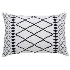 Coussin en coton blanc motifs noirs 40×60