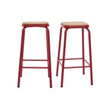 Tabourets de bar empilables rouge H65 cm (lot de 2) MEMPHIS