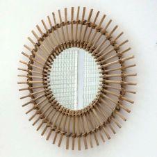 Miroir rond soleil vintage en rotin naturel 56 cm Dino Moka – GM