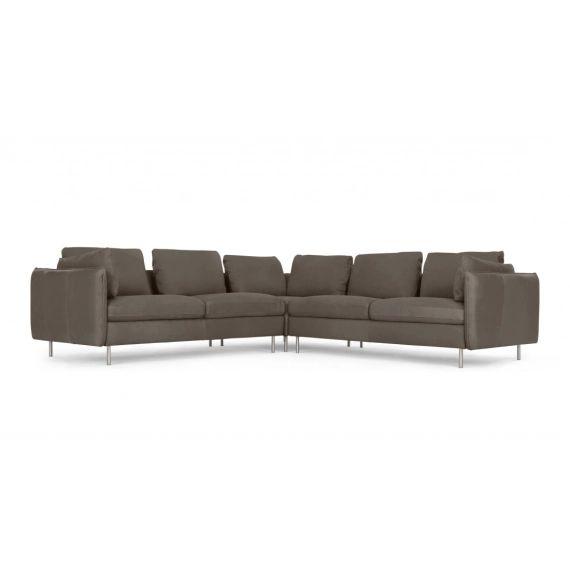Vento, canapé d'angle panoramique 5 places, cuir gris Texas