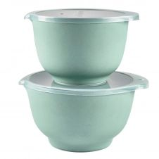 Ensemble de bols avec couvercles mat Margrethe Lot de 2 Pebble vert