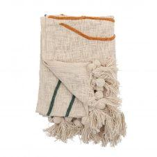 Plaid en laine avec broderies Bloomingville 125×150 cm Nature