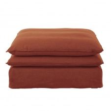 Pouf de canapé en lin terracotta Pompei