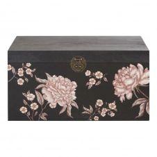 Coffre noir imprimé floral multicolore Mayli