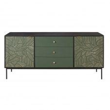 Buffet 2 portes 3 tiroirs en manguier massif vert sculpté Manaos