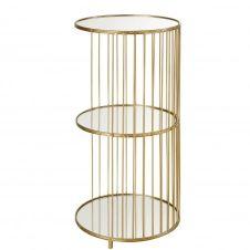 Etagère 3 plateaux en verre et métal doré