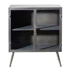 Petit meuble de rangement 2 portes en verre et métal