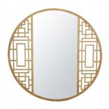 Miroir rond en chêne sculpté D110