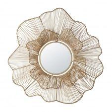 Miroir filaire fleur en rotin tressé D90