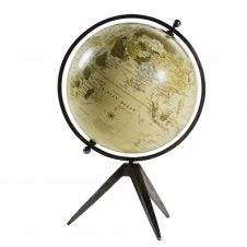 Globe terrestre carte du monde en métal effet vieilli