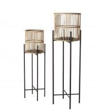 Lanternes en métal noir et bambou (x2)