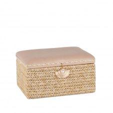 Boîte à bijoux tressée et velours beige