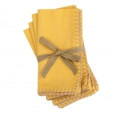 Serviettes en coton bio jaune 40×40 (x4)