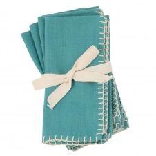 Serviettes en coton bio bleu clair 40×40 (x4)