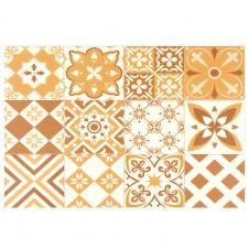 Set de table en vinyle motifs carreaux de ciment ocre et blancs