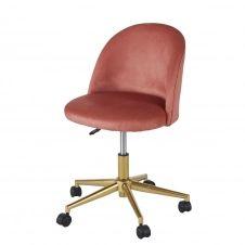 Chaise de bureau vintage à roulettes en velours terracotta Mauricette