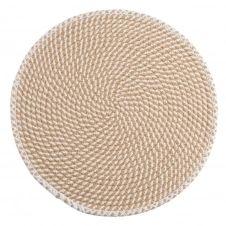 Set de table rond beige et blanc