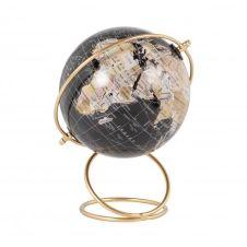 Globe terrestre carte du monde noir et support en métal doré