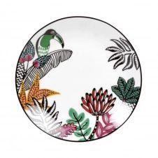 Assiette à dessert en porcelaine blanche imprimé tropical et toucan multicolore