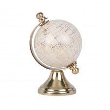 Globe terrestre carte du monde en métal doré et blanc