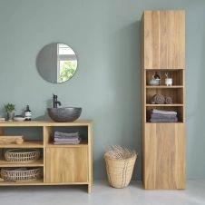 Colonne de salle de bain en bois de teck