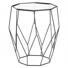 Bout de canapé octogonal en métal noir et verre