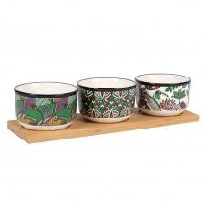 Plateau apéritif en bambou 3 bols en faïence blanche imprimé multicolore