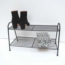 Etagère à chaussures en métal filaire noir 2 niveaux decoclico Factory