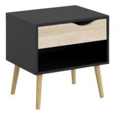 Chevet OSLO NOIR noir/ imitation chêne