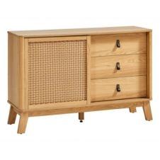 Rangement 3 tiroirs 1 porte imitation rotin MALANG L.120 cm imitation chêne et