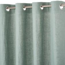 Rideau à illets en lin lavé vert de gris 130×300