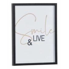 Image 30×40 cm SMILE AND LIVE Noir / Blanc