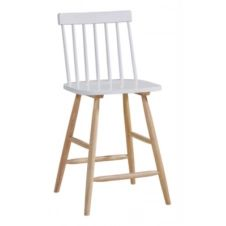 Tabouret de bar H.63 INES blanc/naturel