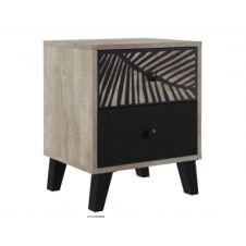 Chevet 2 tiroirs avec motif PALMA noir et imitation chêne