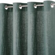 Rideau à illets en lin lavé vert basilic 130×300
