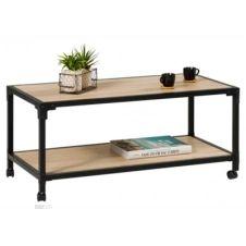Table basse rectangle MAELIE industrielle Chêne/noir
