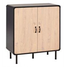 Rangement 2 portes Sixties imitation chêne et noir