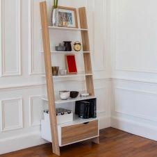 Étagère échelle scandinave bois blanc et façon hêtre