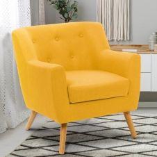 Fauteuil scandinave LIV en tissu jaune moutarde