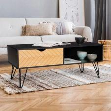 Table basse vintage LEONI motifs graphiques