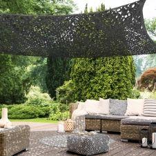 Voile d'ombrage rectangulaire design ombrière camouflage 3×4 m gris
