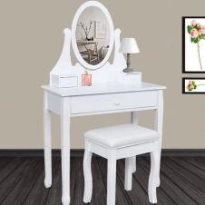 Coiffeuse table de maquillage en bois blanc avec miroir et tabouret