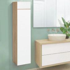 Meuble colonne suspendu 114 cm façon hêtre et blanc pour salle de bain LILA